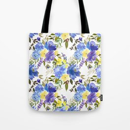 Violet yellow sky blue gold watercolor floral Tote Bag