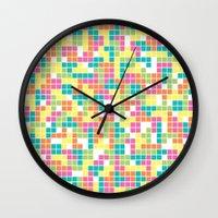 tetris Wall Clocks featuring Tetris by Alisa Galitsyna