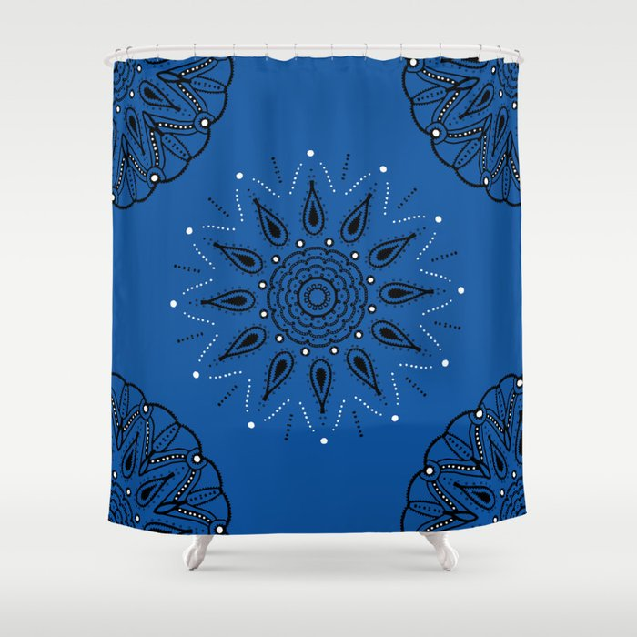 Central Mandala Blue Lapis Shower Curtain