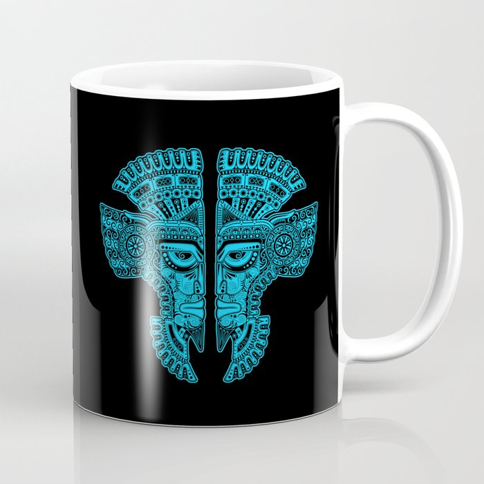 Blue and Black Aztec Twins Mask Illusion Coffee Mug