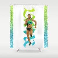 run Shower Curtains featuring Run by Akyanyme