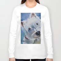 westie Long Sleeve T-shirts featuring Westie Named Tavin by Karren Garces Pet Art
