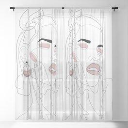 Blush Splash Sheer Curtain