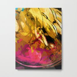 Banana Yellow Pink Splatter True Metal Print