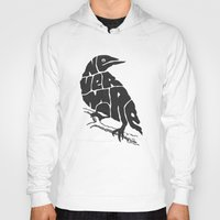 literary Hoodies featuring Quoth the raven by Literary Mint
