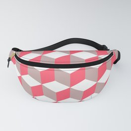 Diamond Repeating Pattern In Poppy and Soft Grey Fanny Pack