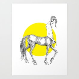 Young centaur with headphones and mp3 player Art Print