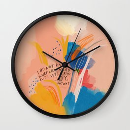 Find Joy. The Abstract Colorful Florals Wall Clock