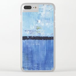 Shiver Abstract Art Blue Modern Water Painting  Clear iPhone Case