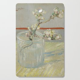 Sprig of Flowering Almond in a Glass Cutting Board