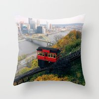 steelers Throw Pillows featuring An Autumn Day on the Duquesne Incline in Pittsburgh, Pennsylvania by Ed Lightcap