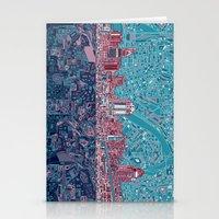 cincinnati Stationery Cards featuring cincinnati city skyline by Bekim ART