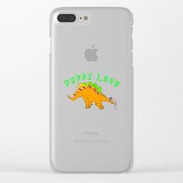 Dinosaur Puppy Love Clear iPhone Case