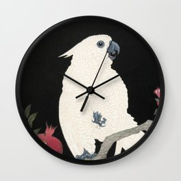 Cockatoo and Pomegranate Japanese Woodcut Wall Clock