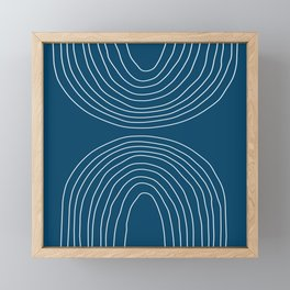 Hand drawn Geometric Lines in Midnight Blue 2 (Rainbow Abstraction) Framed Mini Art Print