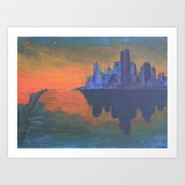 Future Skyline Sunset Art Print