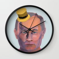 putin Wall Clocks featuring Putin on the Ritz by Kervin