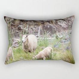 Sheep Family in Flea Bay, Akaroa, New Zealand Rectangular Pillow