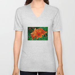Orange Tiger Lilies - The Peace Collection Unisex V-Neck
