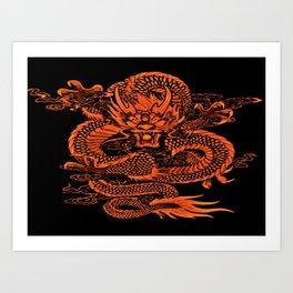 Epic Dragon Orange Art Print