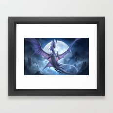White Dragon v2 Framed Art Print