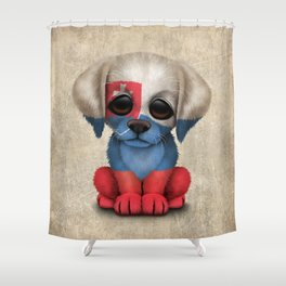 Cute Puppy Dog with flag of Slovakia Shower Curtain