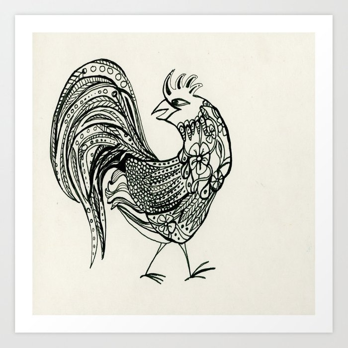 fancy rooster art print by elizalacroix society6