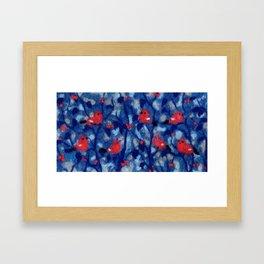 Bullfinches, birds in the trees, fiber art, wool painting Framed Art Print