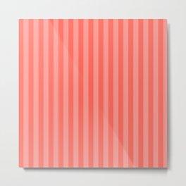 Coral Pink Thin Vertical Stripes Metal Print