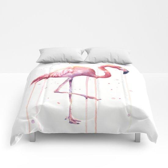 Pink Flamingo Portrait | Facing Right Comforters