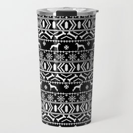Italian Greyhound fair isle christmas snowflakes dog breed silhouette pattern gifts Travel Mug