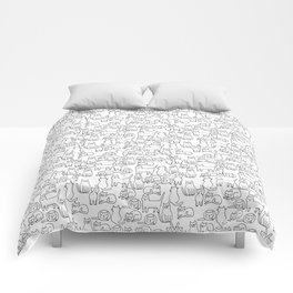 Funny sketchy white kitty cats Comforters