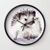 hedgehog Wall Clocks featuring Hedgehog by Bridget Davidson
