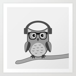 Owl On A Limb (B&W) Art Print
