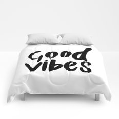 Good Vibes - Black and white Comforters