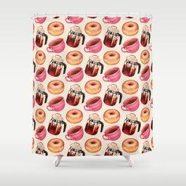 Coffee Donut Percolator Pattern Shower Curtain