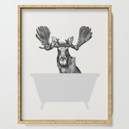 Vintage Moose in Bathtub Serving Tray