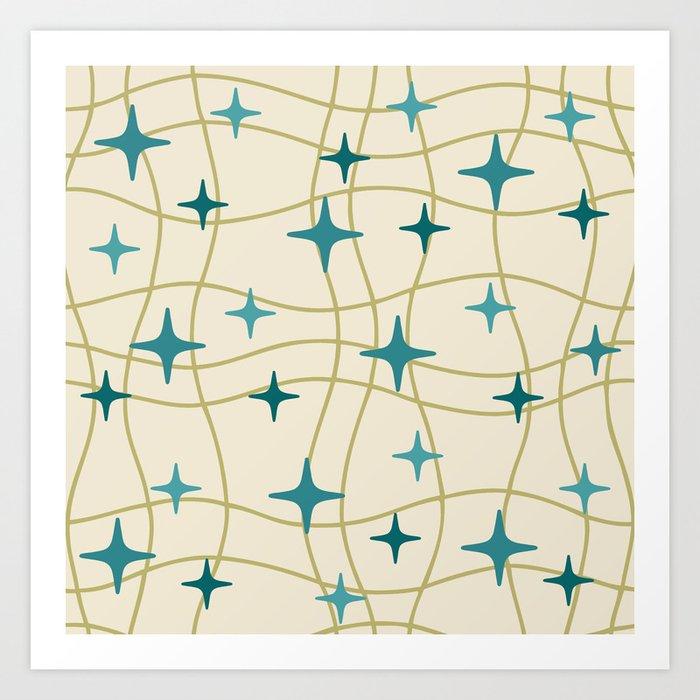 Mid Century Modern Cosmic Star Pattern 693 Cream Turquoise Olive Kunstdrucke