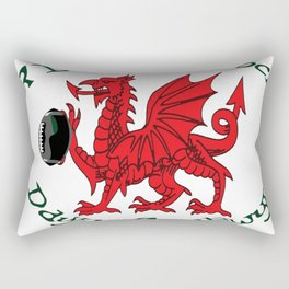 The Red Dragon Inspires Action Green Text Rectangular Pillow