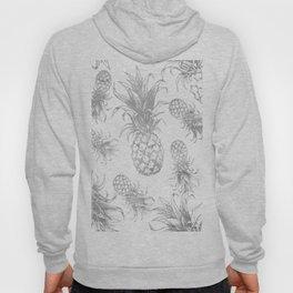 grayscale pineapple pattern, vintage tropical desing Hoody
