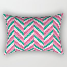 Fishbone Stripes Pink and Green Rectangular Pillow