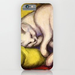 "Franz Marc ""The white cat on the yellow pillow"" iPhone Case"