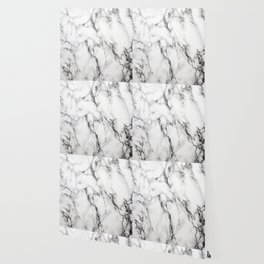 White Faux Marble Texture Wallpaper