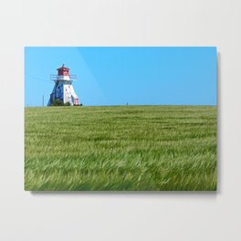 Lighthouse and the Crop Field Metal Print