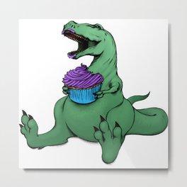 Dino Eats a Cupcake Metal Print