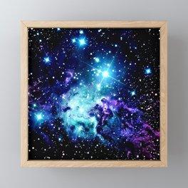 Fox Fur Nebula Turquoise Blue Purple Black Framed Mini Art Print