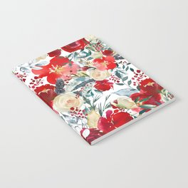 Red teal hand painted boho watercolor roses floral Notebook