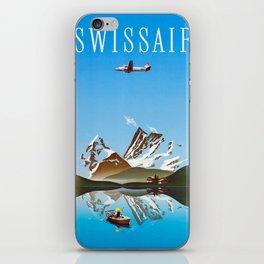 Alps - Vintage Swissair Travel Poster iPhone Skin