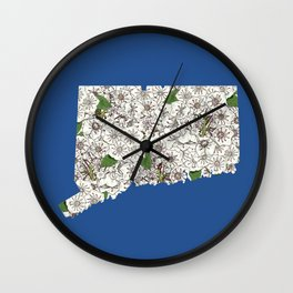 Connecticut in Flowers Wall Clock