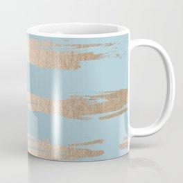 Abstract Paint Stripes Gold Tropical Ocean Sea Blue Coffee Mug